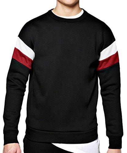 HOTOUCH Mens Shoulder Striped Sweatshirt Casual Wear Black X
