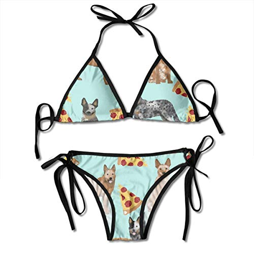 (Triangle Bikini Adjustable Straps, Womens and Girls Tie Sides Two Pieces Australian Cattle Dog Pizzas Mint Green Bathing Suit Underwear for Swimming Party Summer Vacation)