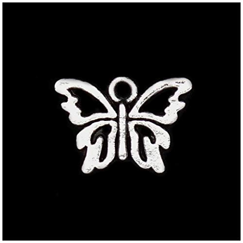 (Pack of 80 Butterfly Charms Pendants Silver Craft Supplies for Jewelry Making Tibetan Accessories for Bracelets Necklace DIY )