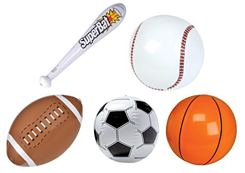 "Cirdan Inflatable 16"" Beach Ball Sports Bundle: One Football, One Baseball, One Basketball, One Soccerball, and One 24"" Inflatable Baseball Bat"