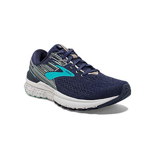 Brooks Womens Adrenaline GTS 19 Running Shoe - Navy/Aqua/Tan - D - 7.5