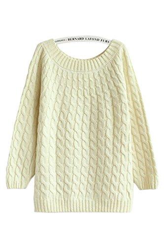 Babyonlinedress Jersey para muy de otoño y invierno cuello redondo manga larga estilo holgado crudo