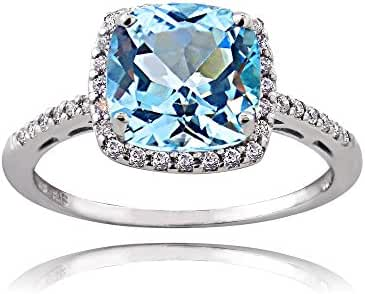 Sterling Silver Light Blue and Clear Cubic Zirconia Cushion-Cut Halo Ring