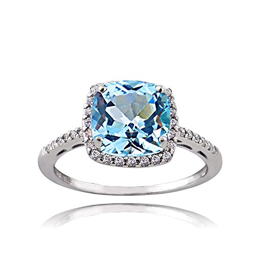 Ice Gems Sterling Silver Light Blue and Clear Cubic Zirconia Cushion-Cut Halo Ring, Size ()