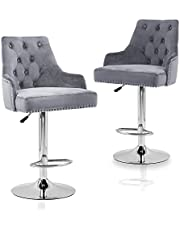Velvet Bar Stools Chairs Set of 2 Adjustable Height Swivel Bar Stool with Button Tufted Upholstered Barstools Footrest and Back for Counter Kitchen Island Kitchen