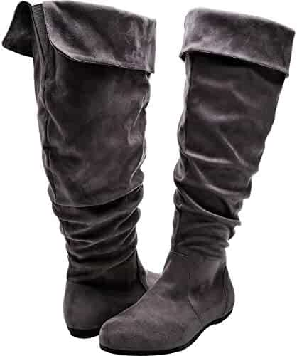 2d8114433a4 Luoika Women s Wide Width Knee High Slouch Boots - Stretchy Side Zipper  Cushioned Lining Winter Flat