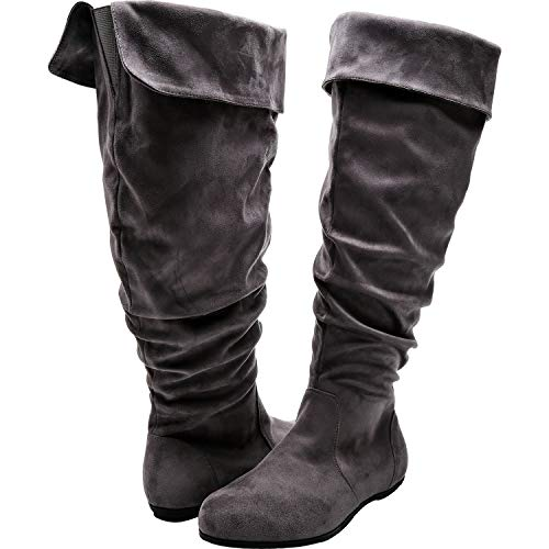 - Luoika Women's Wide Width Knee High Flat Boots - Stretchy Side Zipper Cushioned Lining Suede Winter Boots.(180821,Grey,9.5)
