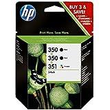 HP 350-351 - Pack de ahorro de 3 cartuchos de tinta Original HP 350 Negro , HP 351 Tricolor para HP OfficeJet y HP PhotoSmart