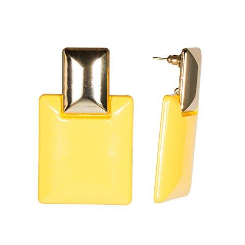 Fashion Goldtone Drop Earrings Rectangle Yellow Plastic Disco Minimalist Jewelry (Plastic Yellow Earrings)