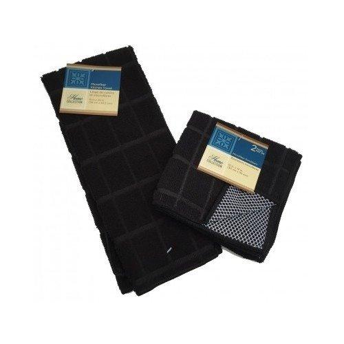 Microfiber Dish Towel Dish Rag Pack of 3 Dish Towel & Dish Rags Set Black Kitchen Cleaning Supplies Kitchen Accessories Microfiber Cleaning Cloth Dish Washing Cleaning Supplies (Black)