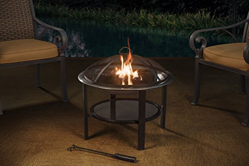 Sunjoy 26'' Verde Stainless Steel Fire Pit - Pewter finish Dome fire screen with high heat resistant paint Screen lift tool and wood grate included - patio, outdoor-decor, fire-pits-outdoor-fireplaces - 41ZzmCNAKsL -