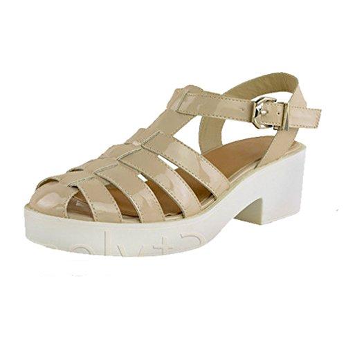 Saute Styles - Sandalias de vestir para mujer NUDE Patent Cleated Sole
