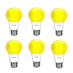 Philips 463190 60W Equivalent Yellow A19 Led Bug Light Bulb6 Pack