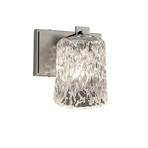 - Justice Design Group Lighting GLA-8441-16-CLRT-NCKL-LED1-700 Veneto Luce Era LED 1-Light Wall Sconce-Brushed Nickel Finish with Clear Textured Venetian Glass Cylinder with Rippled Rim Shade