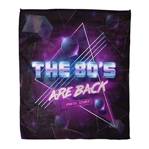 Golee Throw Blanket Blue Retro Emblem The 80 are Back Party Neon 1980S 60x80 Inches Warm Fuzzy Soft Blanket for Bed Sofa