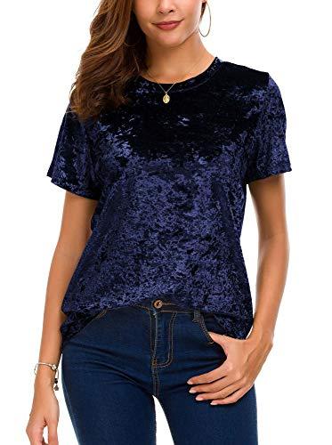 - Women's Crew Neck Velvet Top Short Sleeve T-Shirt (XL, Navy Blue)