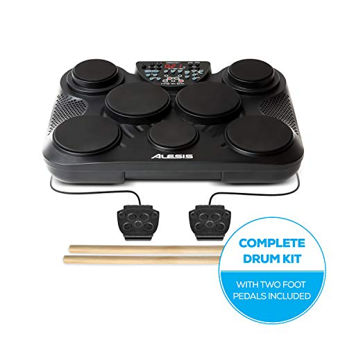 Alesis Compact Kit 7 | Ultra-Portable 7-Pad Electronic Table-top Drum Kit with Velocity-Sensitive Drum Pads, 265 Drum Sounds, USB-MIDI Output, Battery- or AC-Power and Drum Sticks Included
