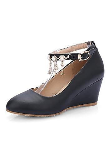 NJX/ hug Zapatos de mujer - Tacón Cuña - Cuñas - Tacones - Casual - Semicuero - Negro / Blanco / Almendra , black-us5 / eu35 / uk3 / cn34 , black-us5 / eu35 / uk3 / cn34