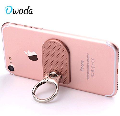 Owoda Soporte de anillo de dedo de metal de lujo Anti Drop 360 grados Hand Grip Kickstand Para el iPad del iPhone Samsung y todo el teléfono móvil de la marca de fábrica (Hebilla punteada-Negro) Hebilla punteada-Oro Rosa