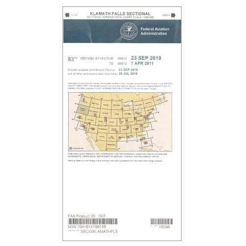 FAA Chart: VFR Sectional KLAMATH FALLS SKF (Current Edition) by FAA Charts (Image #1)