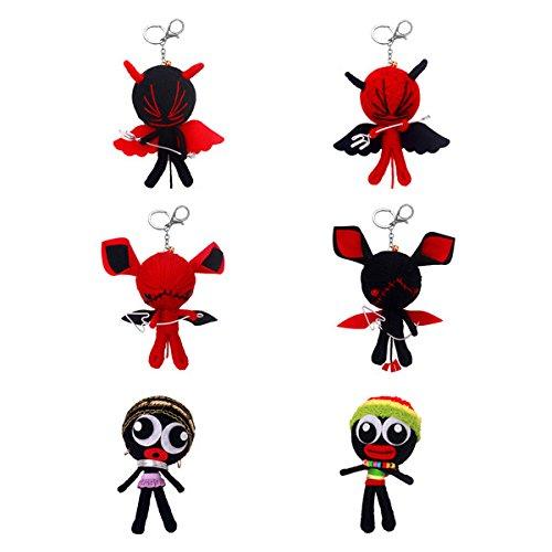 Noeyone Set of 2 x Voodoo doll Keychains Set Bag Pendant Holder Key Ring Gift Phone Bags Key Chain Keychain Jewelry chaveiro sleutelhanger (Ck Shackle)