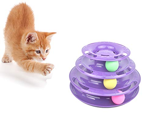 Purrfect Feline Titan's Tower – New Safer Bar Design, Interactive Cat Ball Toy, Exerciser Game, Teaser, Anti-Slip…