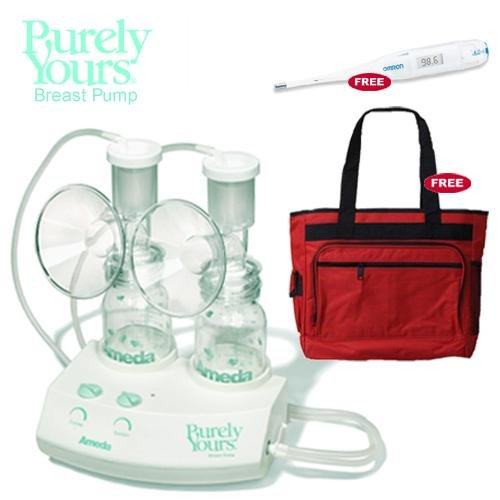 Ameda Purely Yours Breastpump with Diaper Bag and Omron Thermometer by Ameda