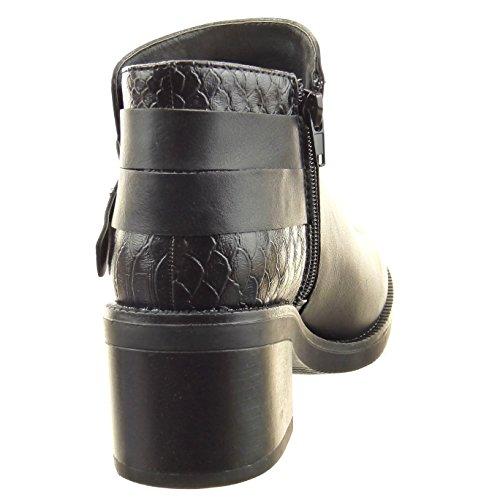 Nero Tallone Caviglia Calzature cinghia Multi 6 Cm Avvio Donne Sopily Moda Stivali Caviglia Serpente Blocco Pilota Pelle 0BawqtxP