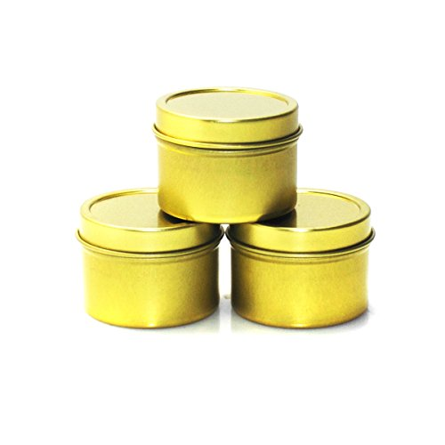 Mimi Pack 1 oz Deep Round Metal Tin Container Solid Slip Top Lid For Salves, Favors, Spices, Balms, Candles, Gifts 24 Pack (Gold)