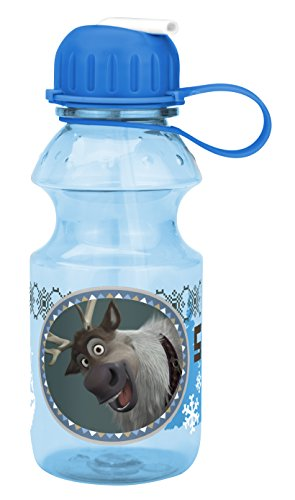 Zak! Designs Tritan Water Bottle with Flip-up Spout with Sven & Olaf from Frozen, Break-resistant and BPA-free plastic, 14 -
