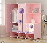 Yigui Portable Clothes Closet Wardrobe Bedroom Armoire Dresser Cube Storage Organizer,Space Saving,Ideal Storage Organizer,7Doors +4Grid + 1Hanging Sections