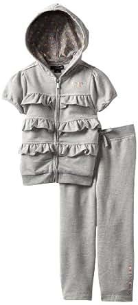 Calvin Klein Little Girls' Short Sleeve Hoody With Pants, Gray, 3T
