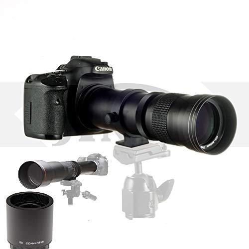 JINTU 420-800mm 1600mm + 2X Teleconverter Lens f/8.3 Manual Zoom Telephoto Lens + T-Mount for Nikon D5500 D3300 D3200 D5300 D3400 D7200 D750 D3500 D7500 D600 D800 D810 D3100 D5200 D5600 D7000 Camera
