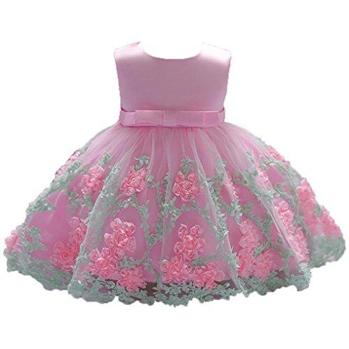 Infant Baby Little Girls Dress, Flower Print Sleeveless Princess Formal Birthday Party Tutu Dress 0-18M (Pink, 6-12 Months) by Aritone - Baby Dress