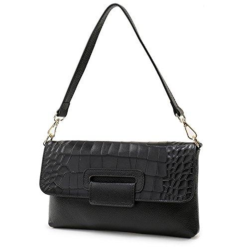 les véritable tout bandoulière pour cuir main Sacs en Black bandoulière enveloppe motif classique main femmes sac Messenger fourre crocodile sac à à diagonale à sac RnxnIY