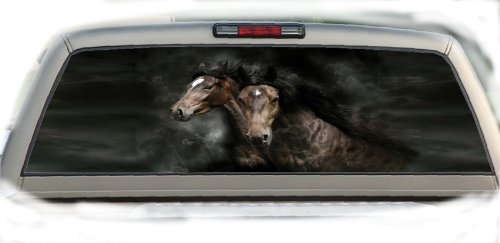 Horse Rear Window - Crabtree Signs 2 Horses- 22 Inches-by-65 Inches- Rear Window Graphics