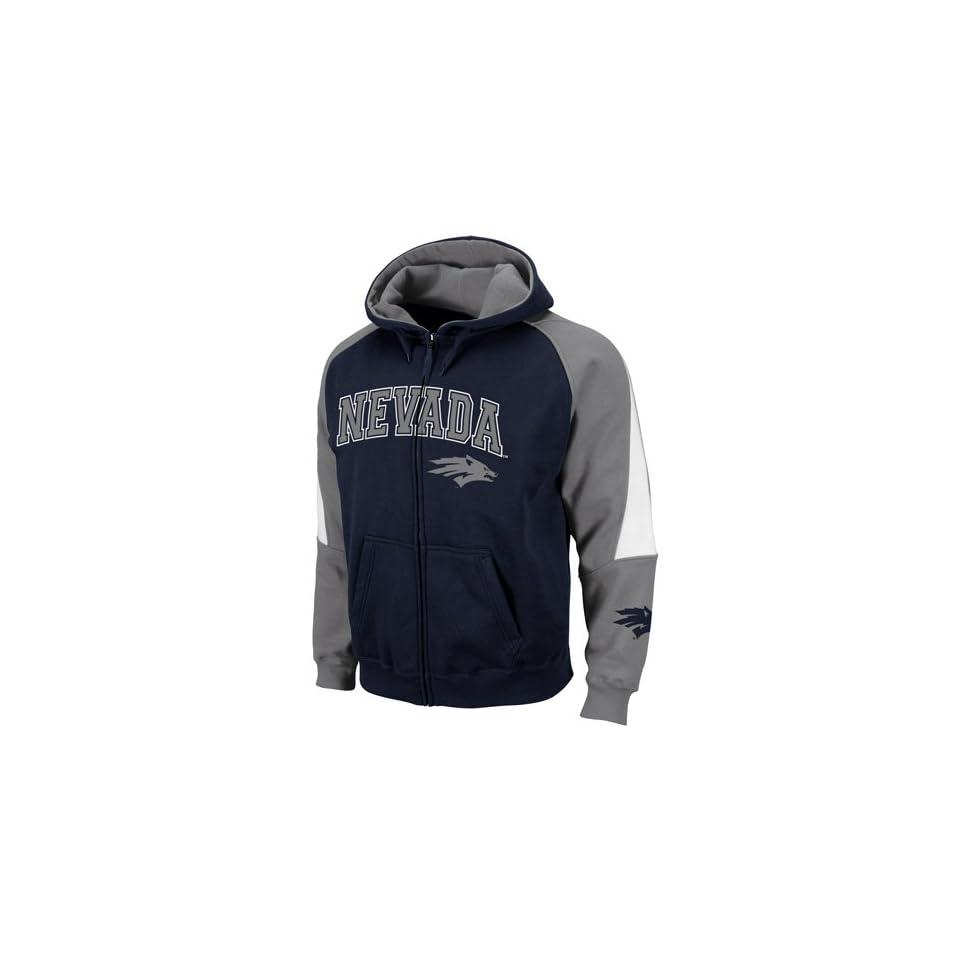 Nevada Wolf Pack Navy Blue Gray Playmaker Full Zip Hoodie Sweatshirt