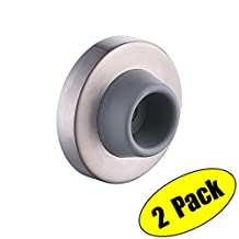 KES SUS 304 Stainless Steel Wall Door Stop Rubber Bumper Contemporary Safety Doorstop Sound Dampening Heavy Duty Brushed Finish 2 Pack, HDS214-2-P2