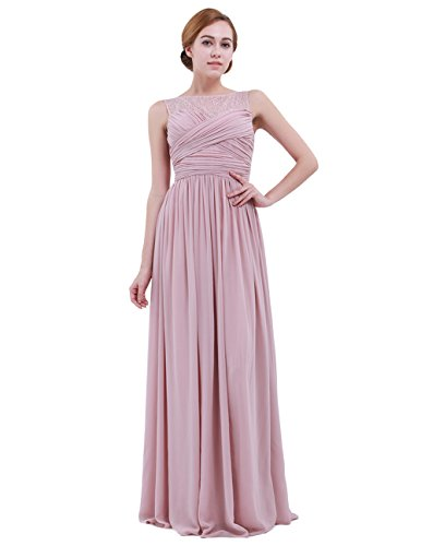 Chiffon Pleats Evening Gown - iEFiEL Women Lace Illusion Cross Pleats Bridesmaid Dress Long Evening Prom Gown Dusty Rose 14