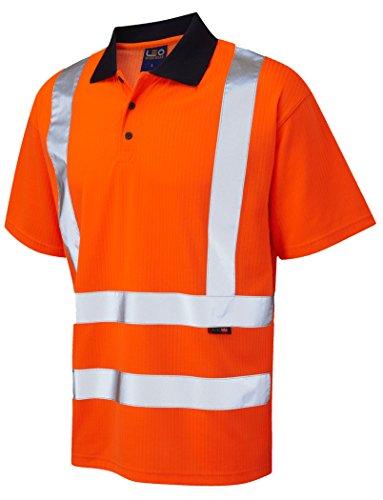 Herren LEO Hi Vis Class 2Short Sleeve Polo Shirt Reflective safety 3x l 4x l 5x l 6x l orange Gr. 5XL, Orange - Hi-Vis Orange