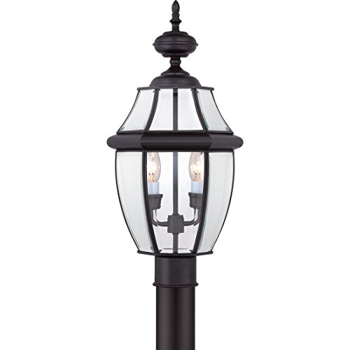 Quoizel NY9042K Newbury Outdoor Post Lantern Pier Mount Lighting, 2-Light, 120 Watts, Mystic Black (21