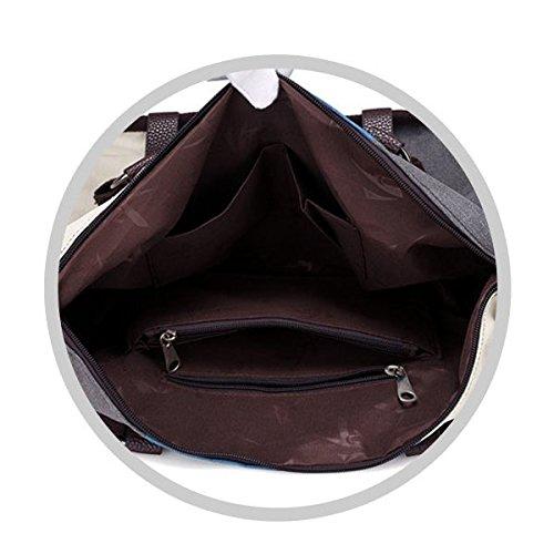 TOOGOO Damen Handtasche Canvas Umhaengetasche Schultertaschen Kuriertasche Henkeltaschen Handgelenktaschen Shopper Tasche(Schwarz & Grau & Weiss) Schwarz & Grau & Weiss