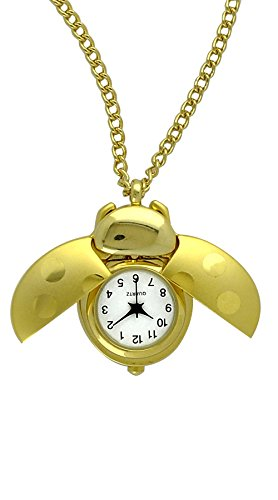 Bug Watch Necklace (Moulin Women's Ladybug Pendant Watch Gold-Tone #04026.73850)