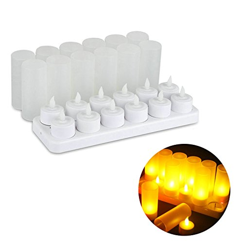 Hmore 12 pcs LED Rechargeable Flameless Tea Light Candle Set Electric Votives Waxless Safe Romantic Birthday Wedding Church Bar (Frosted Tealight Candle)