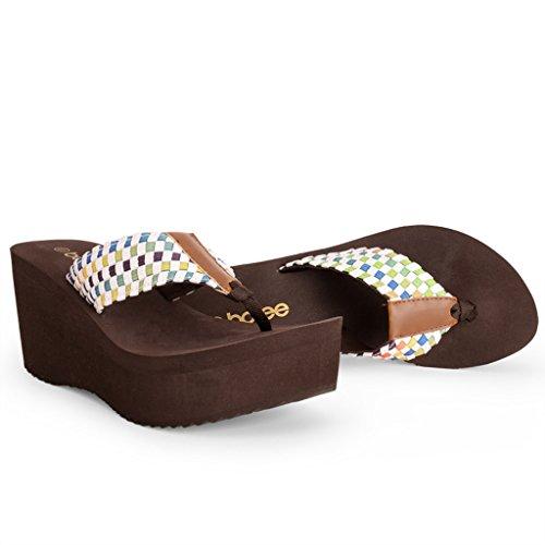 Tissu Chaussures Femelle Talons Tige Élastique EVA Été en À Hauts Marron Mode Antidérapante Slope Clip en Chaussons Toe Épaisse Sandales Semelle ZxEIdOO