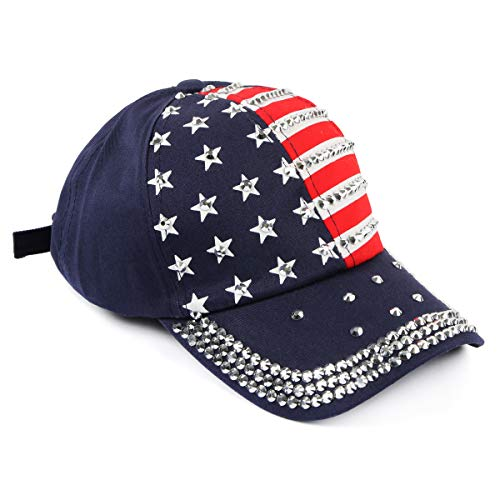 Casual Baseball Hat - Sparkly Sequin Glitter Embellished, American USA Flag Star Stripe Patriotic Visor Sun Cap (Baseball Cap - Star & Stripe ()