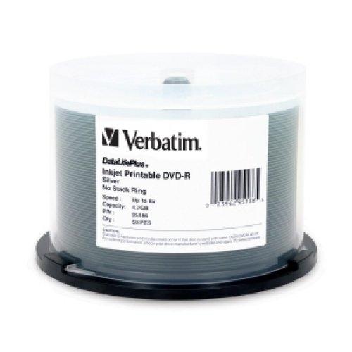 Verbatim DataLifePlus Silver Inkjet Printable 8X DVD-R Media 50 Pack in Cake Box - Inkjet Box Cake Silver