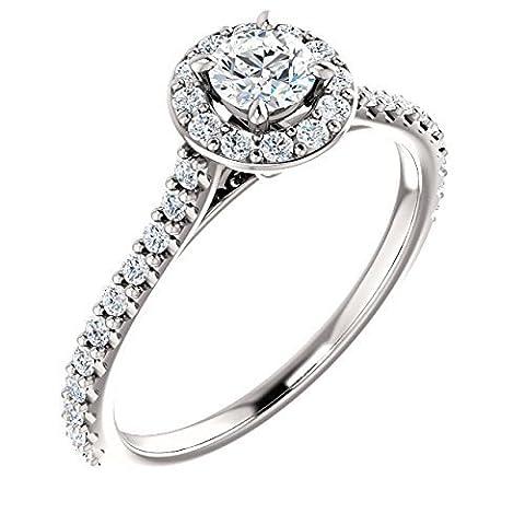 Round Halo Diamond Engagement Ring 14k White Gold 7/8ct. TDW - Cut Halo Petite Diamond