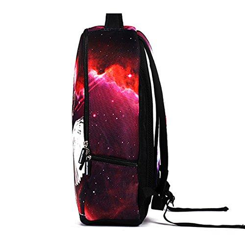 MIYA LTD 3D Cartoon Backpacks Boys,Unisex Fashion Rucksack Laptop Travel Bag Glowing College Bookbag Children's Schoolbag Teenager's Cute Backpack 3D Galaxy Print - Red Cat by MIYA LTD (Image #4)