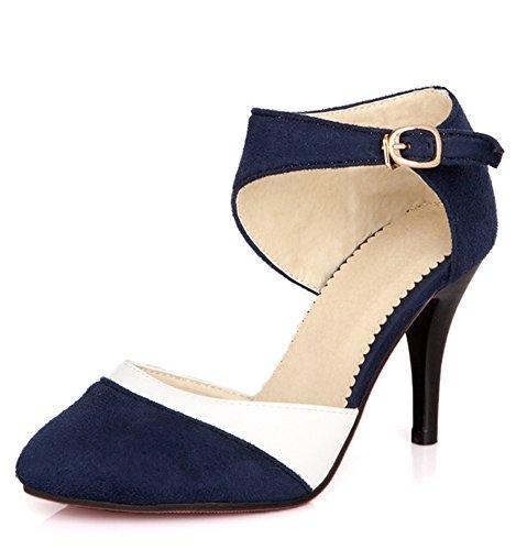 Minetom Mujer Boca Baja Cuero De Nubuck Tacones Altos Zapatos Color Del Encanto De Fina Tacón Alto Sandalias Boda Fiesta Azul